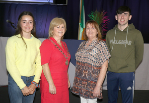 Cllr Barbara-Anne Murphy, the new chairperson of Enniscorthy Municipal District, with her sister Mairin Kehoe, her niece Aoibhe Kehoe and nephew Neal Kehoe