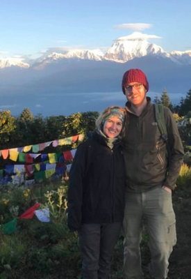 Ian Lacey with his partner Áine Lynch in the Himalayas in Nepal in 2019