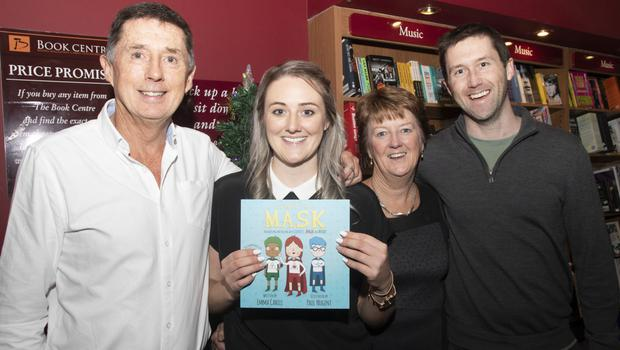 Author Emma Cahill with parents Brian and Geraldine and brother Barry