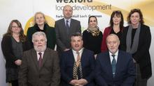 At the conference hosted by the Cornmarket Project in The Talbot Hotel, back – Carol Long, Catherine Lambert, Brian Kehoe (CEO Wexford Local Development), Sandra Dardy, Anna Mai Corcoran and Michelle Weir; front – Paul Delaney (Cornmarket Project), Cllr George Lawlor, Mayor of Wexford and Vivian Geiran (Director of Probation Service)