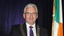 Cllr Joe Sullivan with the chains after he was elected cathaoirleach of the Gorey Kilmuckridge Municipal District