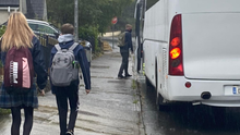 Students boarding the M & F Leonard coach to attend Colaíste Bhride this week