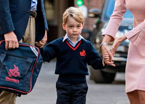 George on his way to his first day of school.