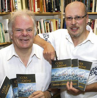 John Wyse Jackson with Fiontan Ó Súilleabháin with copies of the new book, Cosa Gréine
