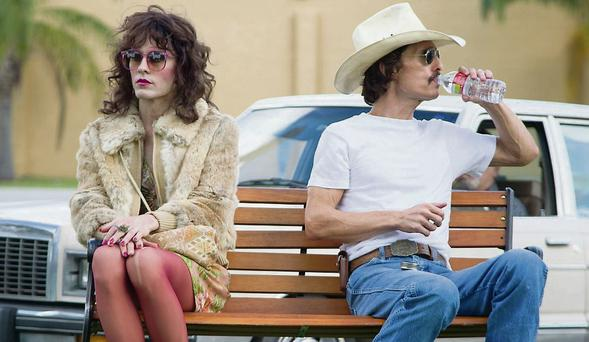 Jared Leto as Rayon and Matthew McConaughey in Dallas Buyers Club.