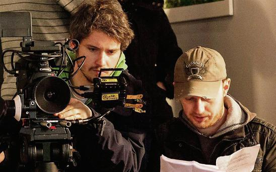 On the set of 'Unfold' last year, (left) Michael Gilbert, cinematographer and Steven Daly, writer/director, right.