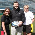 Elaine Byrne, Dave Kearney and Astra McCauley after a game of tag rugby in the Aviva