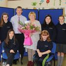 Teacher, Bernie O' Hara, Carnew National School retires after 34 years of service, pictured with school principal, Kevin O' Donnell and 6th year students, back, Ciaran Kinsella, Jade Rooney, Ellie Ryan and Tiffany Kenny. Front, Marire Deegan and Lucy Kemple