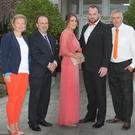 Tricia Quinn of Cycle Against Suicide, Ashdown Park Hotel manager Paul Finnegan, models Elaine Ryan and Peter Cooney, and Joe Dixon, Paul McBride and Jenny O'Meara of Cycle Against Suicide