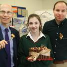 School principal Michael Finn and judge Richard Donohoe from Stafford Bakery with senior winner Aoife Costello