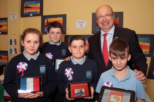 French Ambassador Jean Pierre Thebault with Katie Burke David Jordan Kelly, Sam Tyrrell and Joe Ivory