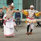 Some of the performers taking part in the Sinhala and Tamil new year celebrations in Gorey Civic Square