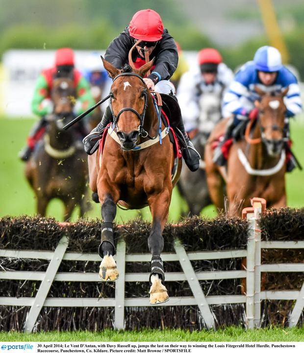 Le Vent D'Antan with Davy Russell on board clears a fence on the way to victory in Leopardstown.