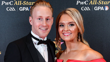 Diarmuid O'Keeffe at the All Stars awards ceremony with Megan Burns, whose father, Jarlath, the former Armagh footballer, is bidding to become the next President of the GAA