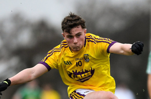 Only the goalkeeping of Colum Feeney (pictured here in outfield action with the Seniors against Westmeath) saved Wexford from an even bigger defeat
