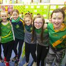 Ella Hussey, Alisha Kent, Freya Murphy, May Heaphy, Ave Kiely-Kelly, Grace Bolger, Eve Flanagan and Cara Caulfield showing their support for the team in Cushinstown National School