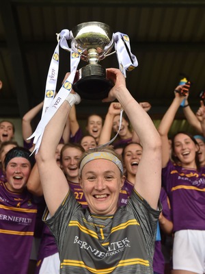 Mary Rose Kelly after captaining Wexford to the National League title in 2018