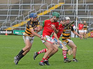 Flashback to last year's quarter-final clash as Aidan Redmond of Rathnure challenges Kevin Ryan (Rapparees)