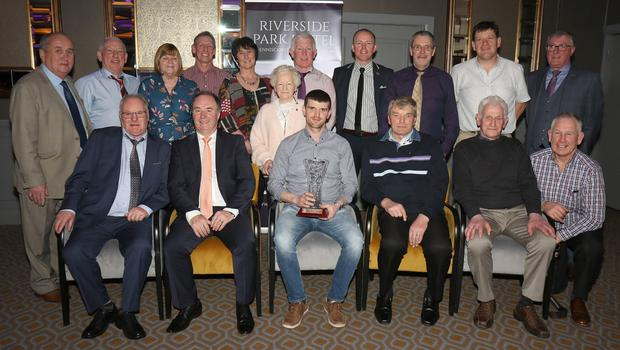 HWH-Bunclody members after receiving the Paddy Wickham club of the year award with Derek Kent (Co. Chairman), Ger Doyle (District Chairman) and Jim Maher of the Riverside Park Hotel (sponsors)