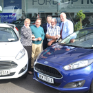 Bolands Wexford supplied three new Fiestas to the three monthly Model County Development Draw winners (from left): Margaret Doyle (County G.A.A. Secretary), Aidan O'Neill (April winner), Enda Newport (sales manager, Bolands), Robert Moore (June winner), Joe Sheehan (draw co-ordinator). Missing: May winner Robert Keating