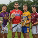 Lee Chin at the launch of the All-Ireland series in the Glynn-Barntown club grounds in Killurin on Tuesday with Seán Curran (Tipperary), Mark Ellis (Cork), Aaron Cunningham (Clare), Johnny Coen (Galway) and Noel Connors (Waterford)