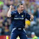 Davy Fitzgerald reacts to Diarmuid O'Keeffe's goal during the Leinster final loss to Galway