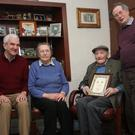 The Seana Ghael committee made a presentation recently to Pat Gregan who played for Kilrush during the 1940s and 1950s. At the presentation were Martin Breen (Seana Ghael Secretary), Mary Gregan, Pat Gregan, Michael Foley (Chairman, Seana Ghael). Pat was joined by other family and friends at an enjoyable function to celebrate his 90th birthday