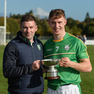 Cathal Dunbar (right) with fellow Wexfordman Willie Cleary (joint manager) after the pair were involved with Ireland's Under-21 hurling/shinty international win over Scotland in Bught Park, Inverness, last October