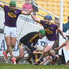 Kevin Foley reacts with delight after kicking in the vital Wexford goal during Saturday's Walsh Cup decider in Nowlan Park