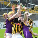 The ball seems to elude everyone in this aerial tussle during Saturday's Leinster championship clash in Nowlan Park