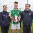 Successful captain Seán Dowling with Angela McCormack of Coiste na nOg and Brian Carty, representing People Newspapers