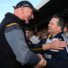The mutual respect between rival managers Brian Cody and Davy Fitzgerald is reflected in this post-match photograph.