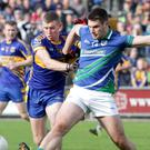 Flashback to the Senior championship final of 2016 as Michael O'Regan (Glynn-Barntown) boots the ball away from Mark O'Neill (Gusserane)
