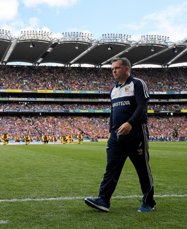 Wexford Senior Hurling manager Davy Fitzgerald patrolling the Croke Park sideline against Tipperary