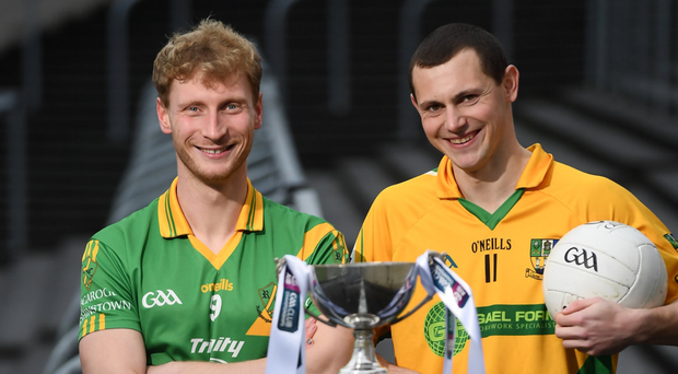Matthew Cody, the Rathgarogue-Cushinstown captain, with Clann na nGael's Philly Garry at the media event before Saturday's final, held in MW Hire O'Moore Park in Portlaoise