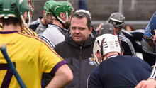 Davy Fitzgerald in a huddle with his Wexford players