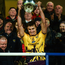 Jack O'Connor raises the Walsh Cup, after Wexford won it for the second time in three years, and 17th in total
