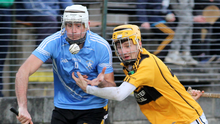 Patrick Naughter tussling for possession with Liam Cass of Conahy Shamrocks