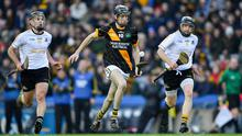 Kevin Tattan (right) and his Russell Rovers colleague, Jack McGrath (left), trying to halt the progress of Tom Phelan (Conahy Shamrocks) in the AIB All-Ireland Club Junior hurling championship final held in Croke Park on January 18.