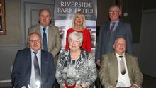 Back (from left): Ger Doyle (District Chairman), Anne Doyle (special guest), Jim Maher (Riverside Park Hotel, sponsors). Front (from left): Noel Ryan (HWH-Bunclody), Joan Rafter (Duffry Rovers), Seamus O'Toole (Marshalstown-Castledockrell)