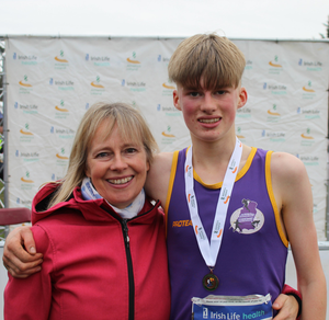 The mother and son team of Emma and Myles Hewlett from United Striders