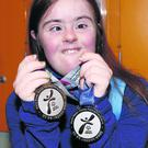 Catherine Daly returned to Special Olympics Club Gorey Area last week wearing her two world silver medals. Photo by Nora Gahan.