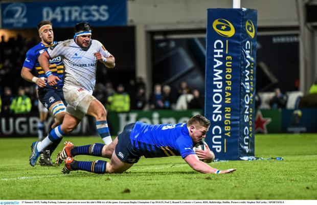 17 January 2015; Tadhg Furlong, Leinster, goes over to score his side's fifth try of the game. European Rugby Champions Cup 2014/15, Pool 2, Round 5, Leinster v Castres, RDS, Ballsbridge, Dublin. Picture credit: Stephen McCarthy / SPORTSFILE