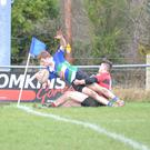 Seán Wafer scoring a try for the Gorey Under-17s against Tullamore