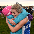 Fiona Kehoe, Kilmore A.C., celebrates with her mother Mary Kehoe, after winning the Novice Women's 4000m race during the Irish Life Health Novice & Juvenile Uneven Age National Cross Country Championships at Dundalk I.T. in Co. Louth. Photo by Seb Daly/Sportsfile