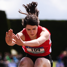 Grace Furlong of C.B.S. New Ross on her way to winning triple jump gold