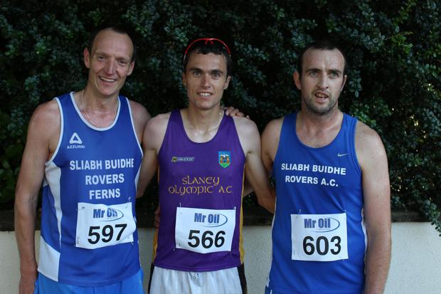 The first three men home (from left): Myles Gibbons (second), Ger Forde (first), Noel Kennedy (third)