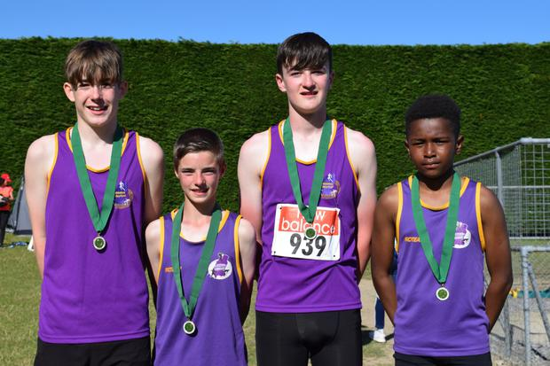 The gold medal-winning Wexford boys' Under-15 relay team (from left): Adam O'Connor, Owen Lennon, Jack Forde and Maxwell Shoyeju
