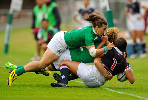 Katie Fitzhenry in rugby sevens action for Ireland against Hong Kong