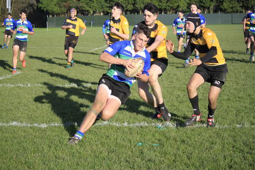 Gorey's Elliot Young on the way to one of his two tries.